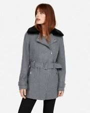Express Faux Fur Collar Wool Blend Coat Jacket Gray Size L 12 NEW Retail $198