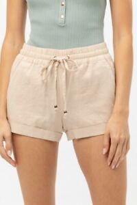 Women's Linen Blend Cuffed Shorts Drawstring Pockets Casual Beach Boho Lounge