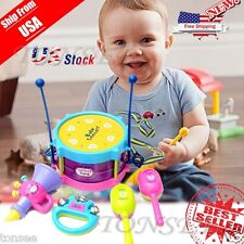 5pcs Kids Baby Roll Drum Musical Instruments Band Kit Children Toy Gift Set USA