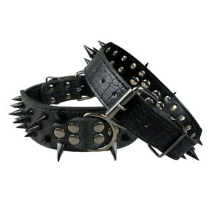 "2"" Cool Spiked Studded Black Leather Dog Collar for Pit Bull Rottweiler S-XL"