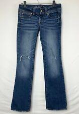 American Eagle Stretch Womens Slim Boot Medium Wash Distressed Jeans Badge Sz 6