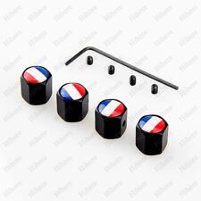 Black Anti-theft Car Wheel Tyre Tire Stem Air Valve Cap France Flag Styling Part