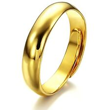 18K Gold Plated Rings Band plain Women's Unisex Resizeble Adjustable Size G275