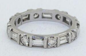 Heavy Platinum 1.52CTW VS1/G Round/Baguette diamond eternity band ring size 5.75