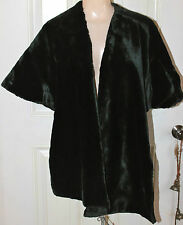 Vintage 1930s BLACK VELVET STOLE Short Cape Capelet Wrap Perfect Steampunk Goth