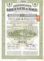 Kreuger & Toll > 1928 Stockholm Sweden kronor 1 share stock certificate