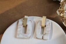 New Resin Cream AcrylicMarble Hoop Stud Xmas Drop Statement Earrings UK Seller