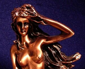 Mermaid and Dolphin Nude ~ Copper Metal Finish ~ Nautical ~ Statue FIGURINE