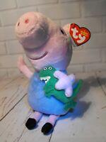 PEPPA PIG TOY GEORGE Beanie Peppa Pig Soft Cuddly Toy Gift GEORGE AND DINOSAUR
