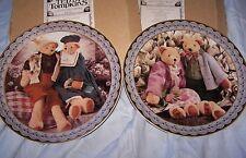 1997 Set of 2 Teddy Tompkins Collectible Bears Spring Summer Bouquet Sun Enesco