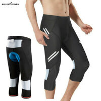 Men's Cycling Shorts 3D Gel Padded 3/4 Pants MTB Bike Gym Riding Trousers Tights
