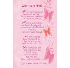 WHAT IS A NAN - PURSE WALLET KEEPSAKE VERSE PRAYER CARD 100's OF OTHERS LISTED