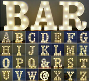 Large LED Light Up Alphabet Letters Plastic Numbers Standing Party Birthday