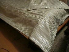 designer bed spread throw quilt glitter silver / white wave fabric uk craft made