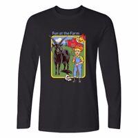 Fun At The Farm Printed Men's Cotton Casual Long Sleeve Crew Neck T-Shirt Tees