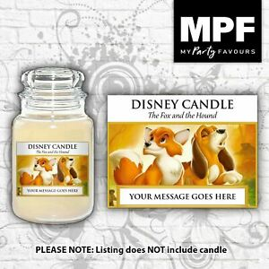 Personalised 'Fox and the Hound' Candle Label/Sticker - Perfect birthday gift!