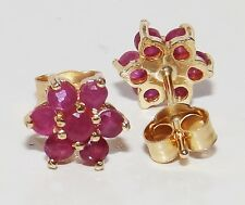 9CT RUBY FLOWER STUD EARRINGS BUTTERFLY BACKS FLORAL 9 CARAT YELLOW GOLD