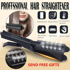Ceramic Tourmaline Ionic Flat Iron Steam Hair Straightener Glider Professional