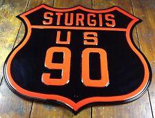 Sturgis Motorcycle Rally Us 90 High Embossed Metal Advertising Street Road Sign