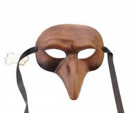 Maschera Di Venezia A Lunghi Naso Capitano Marrone IN Pelle Vera Spesso 936 V20