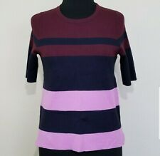 ANN TAYLOR Top Small Colorblock Striped Short Sleeve Knit Sweater Blouse Navy