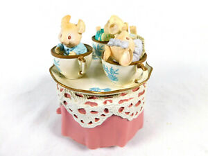 Vintage ENESCO 1993 Mice In Teacups Revolving Music Box Plays TEA FOR TWO