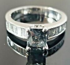 Steel Blue Purple Spinel VS Baguette Diamond 18k white gold band/ring