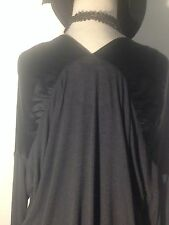 VINCE Black Silk and  Jersey Tone on Tone Texture Blocked Tunic Back Detail  S