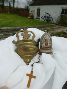 LOT of 2 VINTAGE RELIGIOUS HOLY WATER FONTS & ROSARY BEADS from IRISH HOME