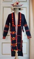 Vintage Hmong Cloth Over Long Coat - Hand Embroidery Unique Pattern