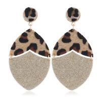 2019 Fashion Geometric Leopard Leather Dangle Drop Earrings Women Party Jewelry
