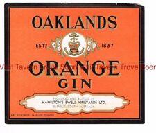 1940s AUSTRALIA Glenelg Hamilton's Ewell Vinyard OAKLAND'S ORANGE GIN Label