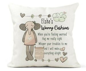 Personalised Girls Worry Pillow Cushion/Comfort Gift. Autism/Anxiety Calmer