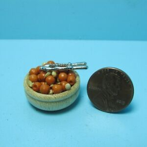 Dollhouse Miniature Wood Bowl of Mixed Nuts with Metal Nut Cracker B0230