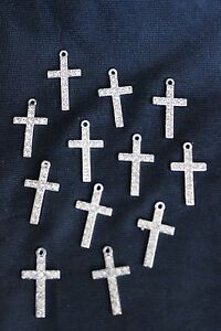 new mini silver color rhineston cross baptism christening communion party favors