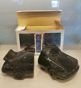 Vintage Black Ceramic Porsche 911 Motor Car Book Ends - with box