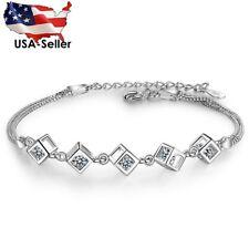 Bracelet s925 Jewelry Sterling Silver Plated Wristband Women Box Diamond Design