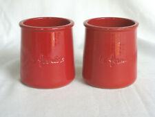 2 Red La Fermiere Glazed Terra Cotta Mon Amour Cermer Yogurt Pots