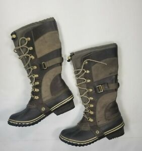 Sorel Boots Womens US 7 Conquest Carly Green Brown NL2033-208