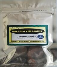 Horny Goat Weed Complex Capsules w/ Maca, Muira Puama Panax Ginseng 50 ct 1000mg