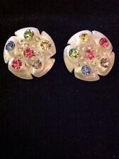 Vintage Leru White Lucite Pink Green Blue Rhinestone Flower Clip Earrings
