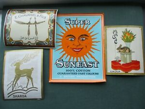 4 VINTAGE FABRIC ADVERTISING BALE LABELS