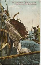 Working whalers on older mint colour postcard of New Bedford MA whaling ship