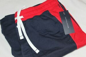 Tommy Hilfiger Men's Navy Red Color Block Drawstring Lounge Shorts NWT Size S,M