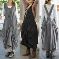 ZANZEA Women Sleeveless Suspender Skirts Dress Long Shirt Dress Midi Dress Plus