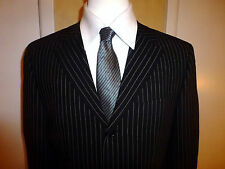 RENE LEZARD Black with White Stripes 3 Button Suit  Wool Men's US 41