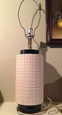 Vintage Mid Century Pale Pink And Black Table Lamp