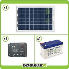 Kit panneau solaire 10W 12V batterie 7Ah régulateur de charge 5A bateau jardin