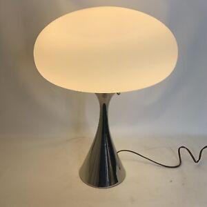 Mid Century Modern Brass w/ Mushroom White Glass Shade Lamp by Laurel Lamp Mfg
