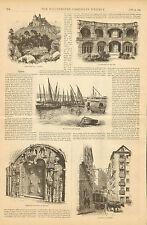 Lisbon, Portugal, City Views, Fruit Market, Vintage 1884 Antique, Art, Print,